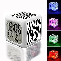 Wake Up Alarm Thermometer Night Glowing Cube 7 Colors Clock LED for Bedroom&Table,School Desk Customize- 653. Seamless zebra pattern