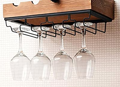 Kenley Wall Mounted Modern Wine Rack with Glass Holder - Rustic Wood - Horizontal Floating Hanging Shelf for 4 Bottles - Metal Bar Stemware Storage Racks for 12 Glasses