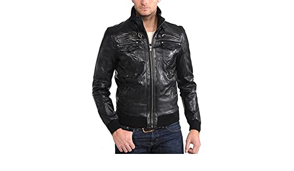New Men Quilted Leather Jacket Soft Cow Leather Biker Bomber LFC800