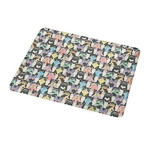 Mouse Pad Cat,Pattern with Hipster Playful Feline Characters with Glasses and Bowties Vintage Style,Non-Slip Thick Rubber Mousepad Mat 9.8