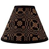 Home Collection by Raghu Lover's Knot Jacquard Black and Mustard Lampshade, 10''