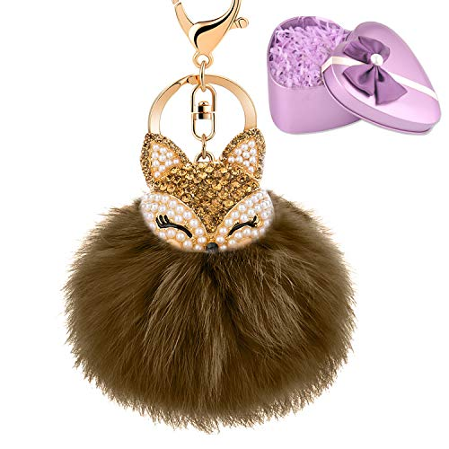 (JOUDOO Fluffy Fur Ball Keychain With Gift Box Fox Head Pom Pom Keyring GJ020 (brown)