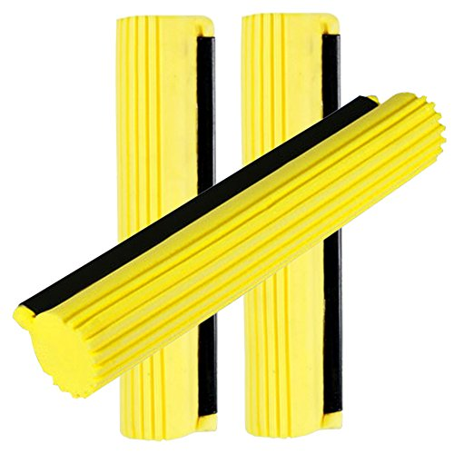 (Sponge Roller Mop Head Refills,Pack of 3 Absorbent Sponge Pads Replacement,27cm-Yellow)