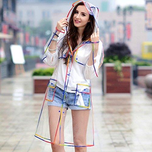 Adulte Paragraphe Imperméable Tourisme Coutures Extérieur Couleur Code Long Noir Transparent Multicolore Toucher Femme OdR1dH