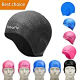 rabofly Swim Cap Mens Womens Boys Toddler Baby Kids Little Girls Infant - Swimming Hat Silicone Youth Adult One Size Ladies Competitive Waterproof Cute Junior Childrens, Swim Like a Pro