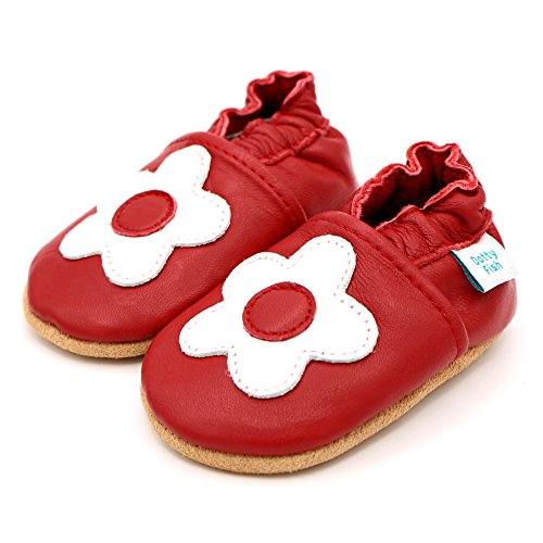 Dotty Fish - Zapatos de cuero suave para bebés - Niños y Niñas - Estrellas Rojo con flor blanca
