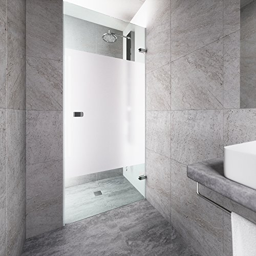 VIGO Tempo 28 to 28.5-in. Adjustable Frameless Shower Door with .3125-in. Privacy Panel Glass and Chrome ()