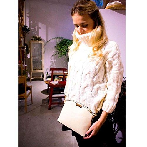 Umhängetasche,Honestyi Elegant Frauentasche Pure Farbe Kuriertaschen Schultertasche Brieftaschen Umschlag Tasche Portemonnaie Geldbeutel groß Rucksäcke Brusttasche Beige