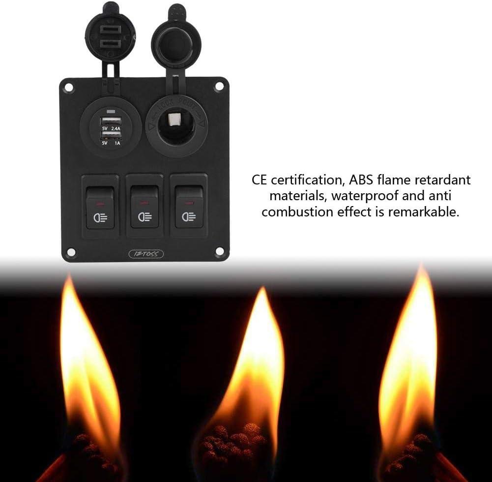 Kimiss Combinador de LED 3 2 Car Marine con un solo balanc/ín Interruptor de luz verde cargador de coche encendedor de cigarrillos iPod: carga r/ápida