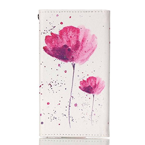 LG G3 Stylus Case,Universal Wallet Clutch Bag Carrying Flip Leather Smartphone Case with Card Slots for LG G3 Stylus 3G D690 - Pink Flower Style