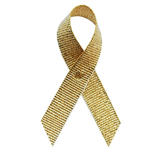250 USA Made Gold Tinsel Fabric Awareness Ribbons - Bag of 250 Fabric Ribbons with Safety Pins (Many Colors Available)