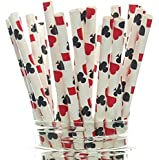 Las Vegas Game Night Casino Straws (25 Pack) - Red & Black Playing Cards Color Party Favors, Cake Pop Sticks, Gambling Polka Dot Straws - Clubs, Spades, Hearts, Diamonds Party Supplies