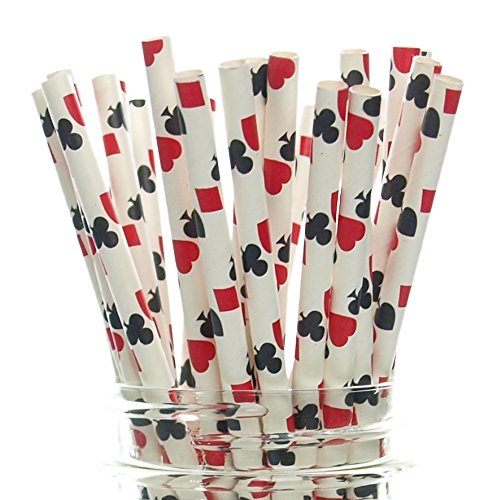Las Vegas Game Night Casino Straws (25 Pack) - Red & Black Playing Cards Color Party Favors, Cake Pop Sticks, Gambling Polka Dot Straws - Clubs, Spades, Hearts, Diamonds Party -