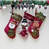 LEHONG Calza di Natale Set 3 Pezzi Calze Natale per Decorazione Natalizia 48 * 26cm