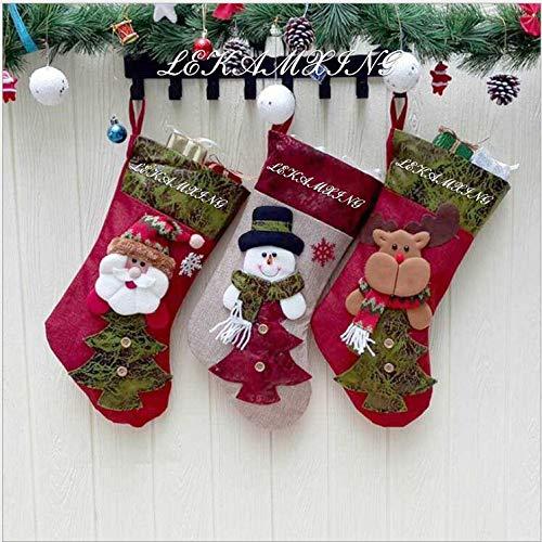 LEHONG Medias de Navidad 3pcs Calcetines Decoración Navideña, 46cm (18