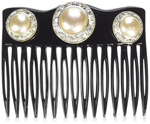 Price comparison product image Caravan Crown Comb Embellished with 3 Pearl Swarovski Rhine Stone Rings, 0.5 Ounce