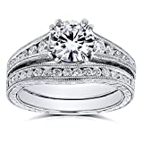 Forever One (D-E-F) Colorless Moissanite and Diamond Channel Milgrain Bands Bridal Set 1-1/2 CTW in 14K White Gold - 10