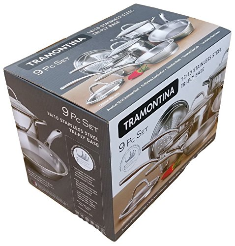 Tramontina Tri Ply Stainless Steel 9 Piece Cookware