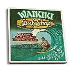 Waikiki Beach, Hawaii - Surf Shop Vintage Sign (Set of 4 Ceramic Coasters - Cork-backed, Absorbent)