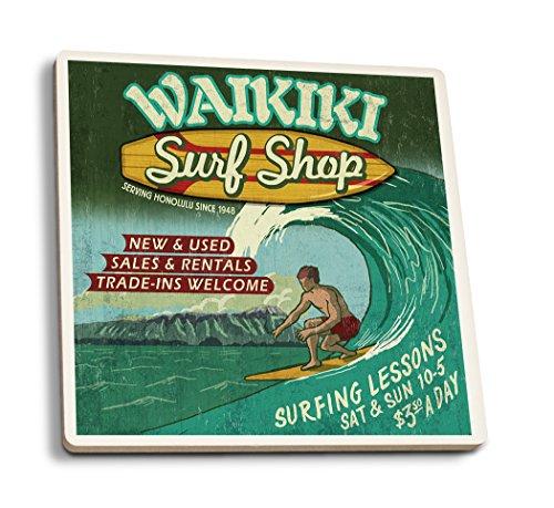 Waikiki Beach, Hawaii - Surf Shop Vintage Sign (Set of 4 Ceramic Coasters - Cork-backed, Absorbent) by Lantern Press