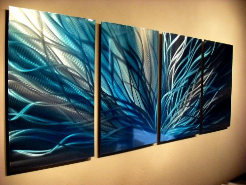 Metal Wall Art, Modern Home Decor, Abstract Wall Sculpture Contemporary- Radiance in Blues by Miles Shay by Miles Shay