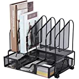 Office Supplies Desk Organizer with Sliding Drawer, 5 Slot File Storage Desktop Organizers, Metal File Folder Sorter Organizer Rack for Home Office, School, Classroom, Workspace by Beiz, Black