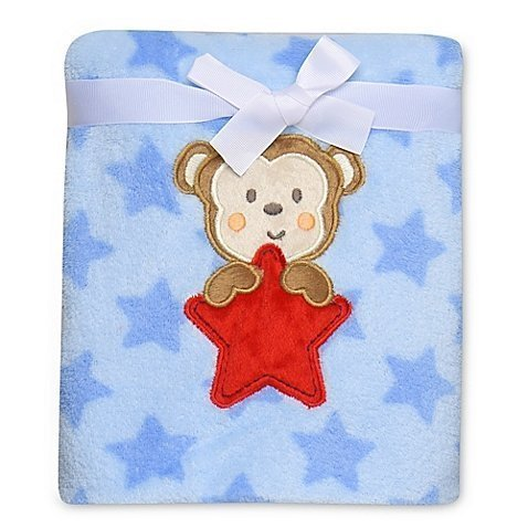 Plush Blue Monkey - Adorable Monkey Star Plush Blanket, Blue
