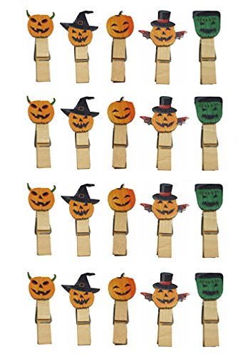 QTMY 20 Pcs Ghost Pumpkin Wooden Clip Hanging Photos with Twine Halloween Decoration Supplies Favors (Differnt Nuts)