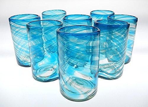 Mexican Glass Turquoise / Aqua Marine Swirl Tumblers 16 Oz Set of 8