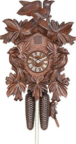 Alemán Reloj de cuco - mecanismo con cuerda para 8 días - tallado en madera - 34 cm - Auténtico reloj de cuco del bosque negro - de Hekas: Amazon.es: Hogar