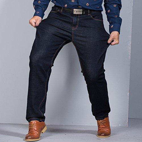 Wanyang E Alta Caldo Alla Uomo Sciolto Spesso Invernale Qualità Di Uomini Moda Jeans Pantaloni Nero Blu Elastici BrxBHqfOw