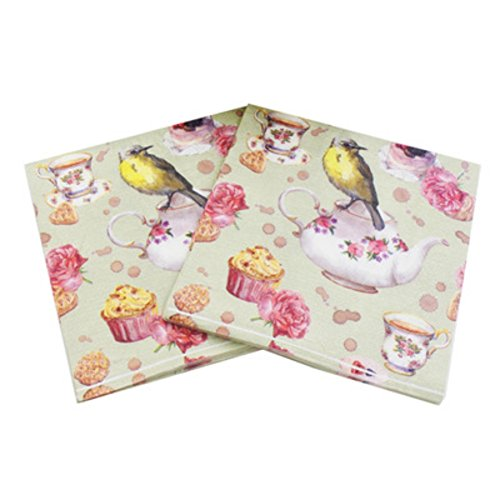 """Smartcoco 20pcs Teapot Bird Paper Napkins Festive and Party Color Printing Tissue Table Decoration 13"""" x 13"""""""
