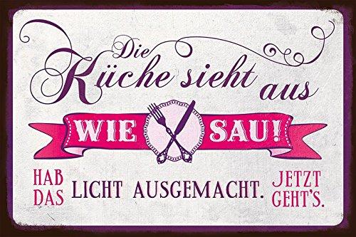 Grafik Werkstatt Bielefeld 60464 Blechschild VintageArt Die Küche Sieht Aus  Wie Sau!: Amazon.de: Küche U0026 Haushalt