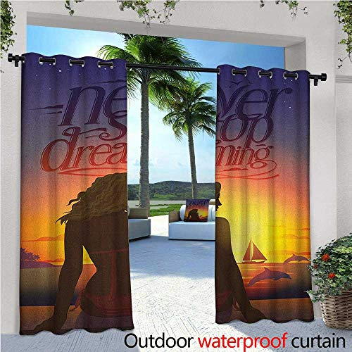 familytaste Quote Exterior/Outside Curtains Never Stop Dreaming Romantic Phrase with Young Woman Sitting by The Beach at Sunset for Patio Light Block Heat Out Water Proof Drape W96 x L108 Multicolor -