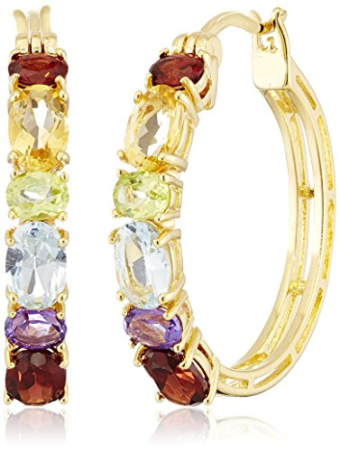 18k Gold Plated Sterling Silver Multi Gemstone Hoop - Blue Gemstone Multi Topaz