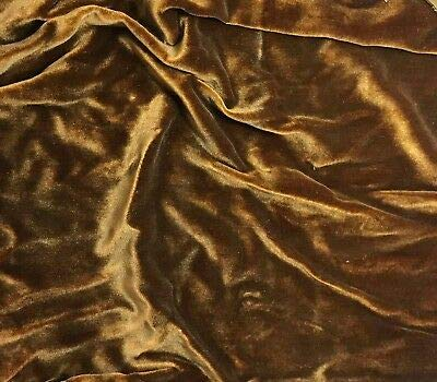"""Hand Painted Silk Velvet Fabric Antique Gold on Amber Fat 1/4 18""""x22"""" MHWK11"""