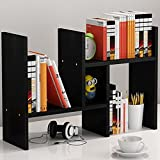 Loghot Adjustable Wooden Desktop Cabinet Storage Organizers Telescopic Creative Office Supply Holder Bookcase Display Shelf Racks ''H'' Type (Black)