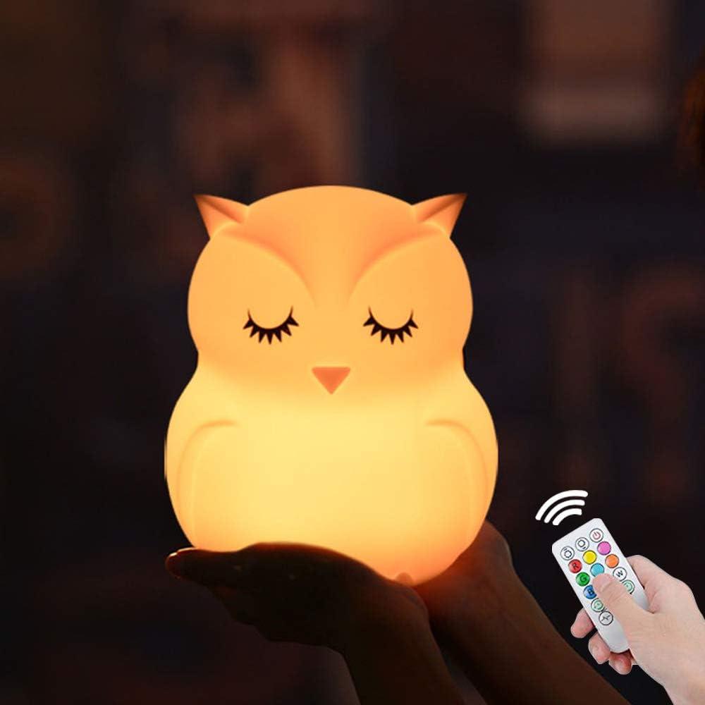 Hibou LED veilleuse capteur tactile t/él/écommande 9 couleurs minuterie r/églable USB lampe de chevet en Silicone Rechargeable pour enfants
