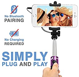 Voxkin Ultra-Portable Wired Selfie Stick for Smart Phones