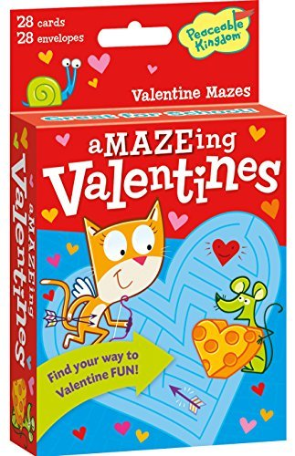 Peaceable Kingdom 28 Card aMAZE-ing Maze Valentines with Envelopes