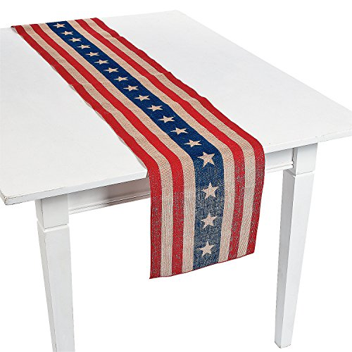 PATRIOTIC 4th of July Americana Party Decoration Burlap Rustic Table -