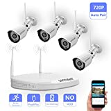 Security Camera System Wireless,Safevant Full-HD 4CH Video Security System with 4pcs 720P Wireless Security Cameras,65ft Night Vision,Auto-Pair,Plug& Play,No Hard Drive
