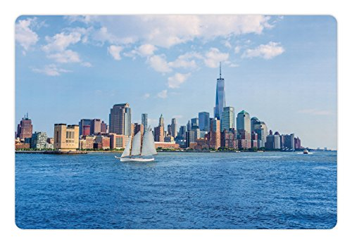 Ambesonne Sailboat Pet Mat for Food and Water, Manhattan Skyline New York Sunshine USA Clear Sky Tower Skyscraper Photography, Rectangle Non-Slip Rubber Mat for Dogs and Cats, Blue ()