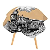 PINAFORE Printed Pattern Washable Table Steam Locomotive Dinner Kitchen Home Decor 47.5'' Round