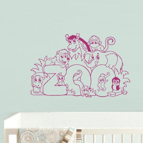 Wall Decal Vinyl Decal Sticker Decor Art Bedroom Nursery Kids Baby Animals Set Elephant Tiger Lion Zoo Word z1064 -