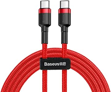 Baseus Cable Type-C To Type-C 1 Meter With PD Technology 60W QC3.0 3A Red And Black