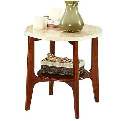 Amazon.com: Mesa de café de madera maciza elegante pequeña ...