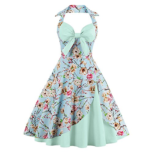 Vintage Halter Cocktail Dress 1950S Retro Swing Homecoming Dresses Light Green S
