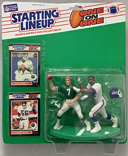 1989 KENNER STARTING LINEUP NFL ONE ON ONE KEN OBRIEN LAWRENCE TAYLOR NEW YORK JETS GIANTS MOC