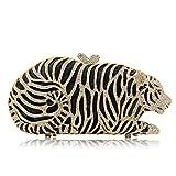 Milisente Women Evening Bag Tiger Crystal Evening Clutch Purse Bag (Gold)